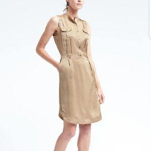 Banana Republic Tan Silky Military Style Dress